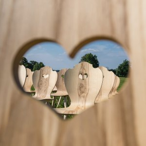 Viele SÜSSHOLZ Herzerlstühle auf einer Wiese