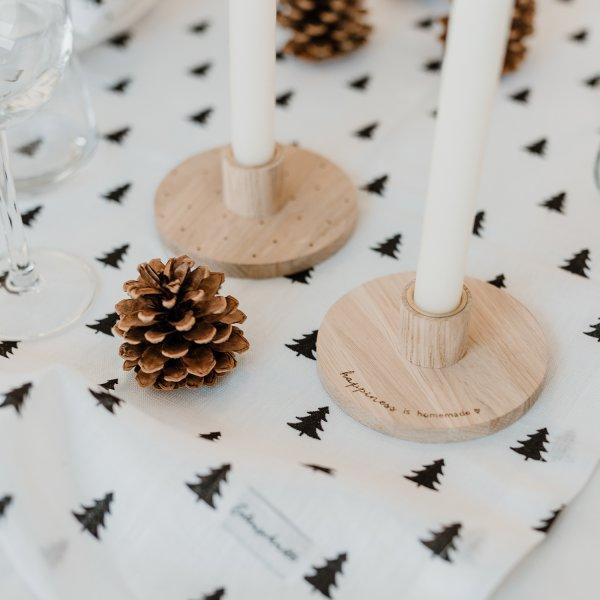 Kerzenständer aus Holz mit Happiness in homemade