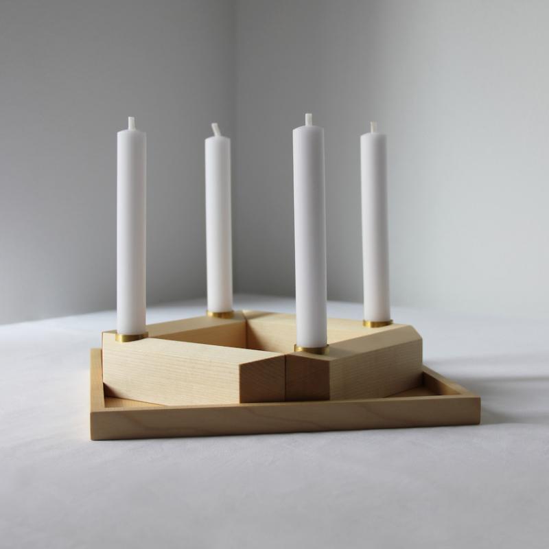 Adventskranz aus Holz im Scandi-Style