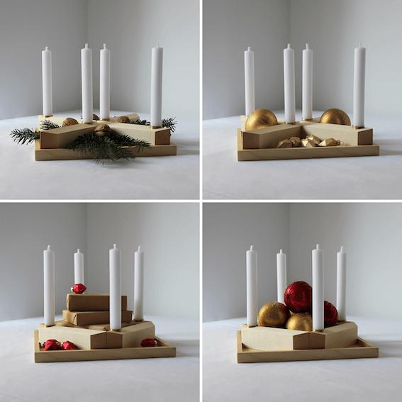 Nussbaum Holzkranz Tischdeko für Weihnachten